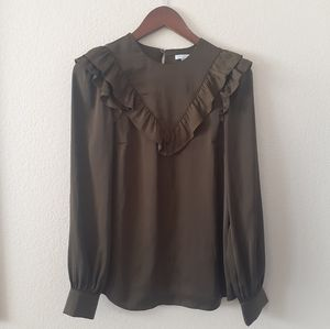 H&M Olive Green Ruffle Top